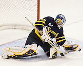 Joe Cannata (Merrimack - 35) made 32 saves on 33 shots in the game. - The visiting Merrimack College Warriors tied the Boston University Terriers 1-1 on Friday, November 12, 2010, at Agganis Arena in Boston, Massachusetts.