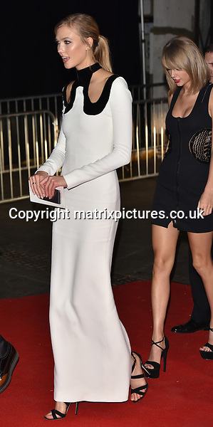 NON EXCLUSIVE PICTURE: MATRIXPICTURES.CO.UK<br /> PLEASE CREDIT ALL USES<br /> <br /> WORLD RIGHTS<br /> <br /> American model Karlie Kloss and American singer-songwriter, Taylor Swift attending The BRIT Awards 2015 Universal Music afterparty, at The Old Sorting Office in London. <br /> <br /> FEBRUARY 25th 2015<br /> <br /> REF: SLI 15637