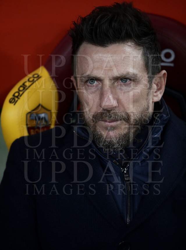 Football, Serie A: AS Roma - Bologna FC, Olympic stadium, Rome, February 18, 2019. <br /> Roma's coach Eusebio Di Francesco prior to to the Italian Serie A football match between AS Roma and Bologna FC at Olympic stadium in Rome, on February 18, 2019.<br /> UPDATE IMAGES PRESS/Isabella Bonotto