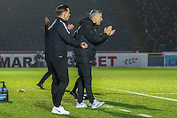 Andy Edwards (Manager) of Leyton Orient (right) during the Sky Bet League 2 match between Wycombe Wanderers and Leyton Orient at Adams Park, High Wycombe, England on 17 December 2016. Photo by David Horn / PRiME Media Images.