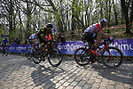 Jens Keukeleire (BEL) Lotto-Soudal and Damien Gaudin (FRA) Direct Energie on the the first ascent of the Kemmelberg during the 2019 Gent-Wevelgem in Flanders Fields running 252km from Deinze to Wevelgem, Belgium. 31st March 2019.<br /> Picture: Eoin Clarke | Cyclefile<br /> <br /> All photos usage must carry mandatory copyright credit (© Cyclefile | Eoin Clarke)
