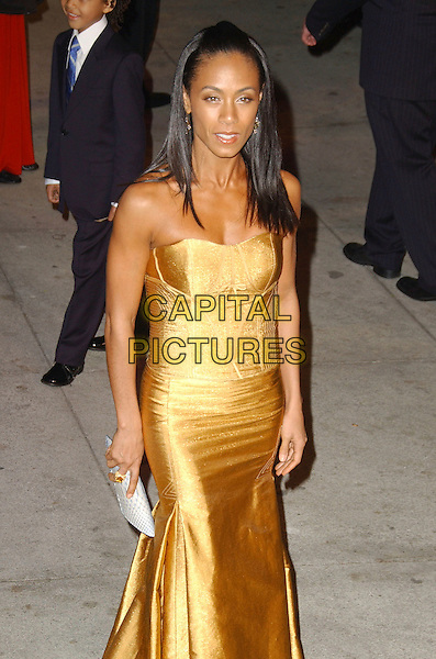 JADA PINKETT SMITH.The 2007 Vanity Fair Oscar Party Hosted by Graydon Carter held at Morton's, West Hollywood, California, USA, 25 February 2007..oscars half length strapless gold dress yellow.CAP/ADM/GB.©Gary Boas/AdMedia/Capital Pictures.