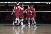 STANFORD, CA - March 3, 2018: Eric Beatty, Jaylen Jasper, JP Reilly, Mason Tufuga at Maples Pavilion. The Stanford Cardinal lost to Pepperdine, 3-0.
