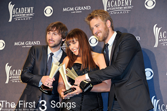 Dave Haywood, Hillary Scott, and Charles Kelley of Lady Antebellum in the press room at the 46th Annual Academy of Country Music Awards in Las Vegas, Nevada on April 3, 2011.  Lady Antebellum won the award for Top Vocal Group.