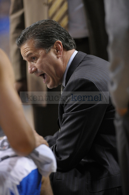 UK's Coach Calipari during the first half of the University of Kentucky Men's basketball game against Mississippi Valley State at Rupp Arena in Lexington, Ky., on 12/18/10. Uk led at half 44-24. Photo by Mike Weaver | Staff