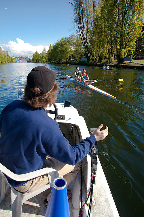 Rowing, Seattle, Seattle Rowing Center, coach Harrison Shure coaching middle school, high school rowers, workout, Lake Washington Ship Canal,