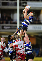 Tom Ellis of Bath Rugby wins the ball at a lineout. Anglo-Welsh Cup match, between Bath Rugby and Gloucester Rugby on January 27, 2017 at the Recreation Ground in Bath, England. Photo by: Patrick Khachfe / Onside Images