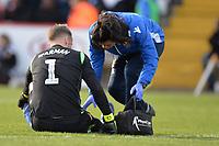 Paul Farman of Stevenage receives  treatmentduring Stevenage vs Bury, Sky Bet EFL League 2 Football at the Lamex Stadium on 9th March 2019