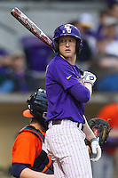 LSU Tigers outfielder Andrew Stevenson #6 in action against the Auburn Tigers in the NCAA baseball game on March 23, 2013 at Alex Box Stadium in Baton Rouge, Louisiana. LSU defeated Auburn 5-1. (Andrew Woolley/Four Seam Images).