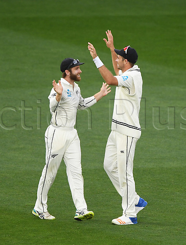 26th March 2018, Eden Park, Auckland, New Zealand; International Test Cricket, New Zealand versus England, day 5;  Tim Southee celebrates with Kane Williamson after taking a catch to dismiss Ben Stokes