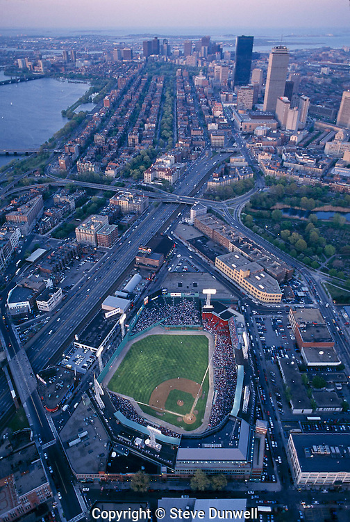 Red Sox at Fenway Park, aerial view, looking East over Boston, MA