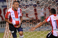 BARRANQUILLA - COLOMBIA - 12-08-2015.  Jarlan Barrera del Atletico Junior de Colombia celebra su gol contra Melgar del Peru  durante partido  por la fecha 1 de la Copa Suramericana jugado en el estadio Metropolitano / Jarlan Barrera  player  of Atletico  Junior  celebrates his goal against  of Melgar of Peru  during a match for the firts  date of the Liga Aguila II 2015 played at Metropolitano  stadium in Barranquilla city. Photo: VizzorImage / Alfonso Cervantes  / Contibuidor