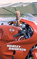 "Scott Russell, ""Mr. Daytona"", with is Harley Davidson before the Daytona 200, Daytona INternational Speedway, Daytona beach, FL, March 1999.  (Photo by Brian Cleary/www.bcpix.com)"