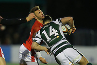 Martyn Thomas of London Welsh and Rhys Crane of Ealing Trailfinders clash during the Greene King IPA Championship match between Ealing Trailfinders and London Welsh RFC at Castle Bar , West Ealing , England  on 26 November 2016. Photo by David Horn / PRiME Media Images