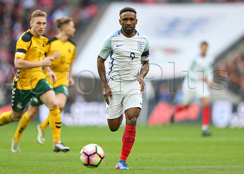 March 26th 2017, Wembley Stadium, London, England; World Cup 2018 Qualification football, England versus Lithuania; Jermain Defoe of England chasing the long through ball