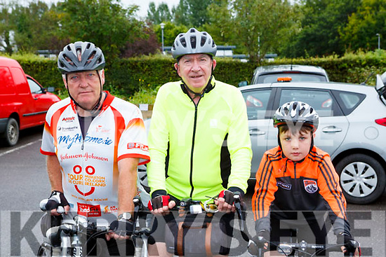 Jerry Carmody Ballyduff, Liam Gowan Tralee and Dean Moloney Brosna all set for the Castleisland Day Care centre cycle on Sunday morning