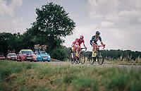 breakaway group taking more then 7 minutes: Guillaume Van Keirsbulck (BEL/Wanty-Groupe Gobert), Dimitri Claeys (BEL/Cofidis), J&eacute;r&ocirc;me Cousin (FRA/Direct Energie) &amp; Anthony Perez (FRA/Cofidis)<br /> <br /> Stage 4: La Baule &gt; Sarzeau (192km)<br /> <br /> 105th Tour de France 2018<br /> &copy;kramon