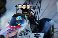 Nov 16, 2019; Pomona, CA, USA; NHRA top fuel driver Clay Millican during qualifying for the Auto Club Finals at Auto Club Raceway at Pomona. Mandatory Credit: Mark J. Rebilas-USA TODAY Sports