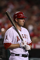 Mark Trumbo  #44 of the Los Angeles Angels waits to bat against the San Francisco Giants at Angel Stadium on June 18, 2012 in Anaheim, California. San Francisco defeated Los Angeles 5-3. (Larry Goren/Four Seam Images)