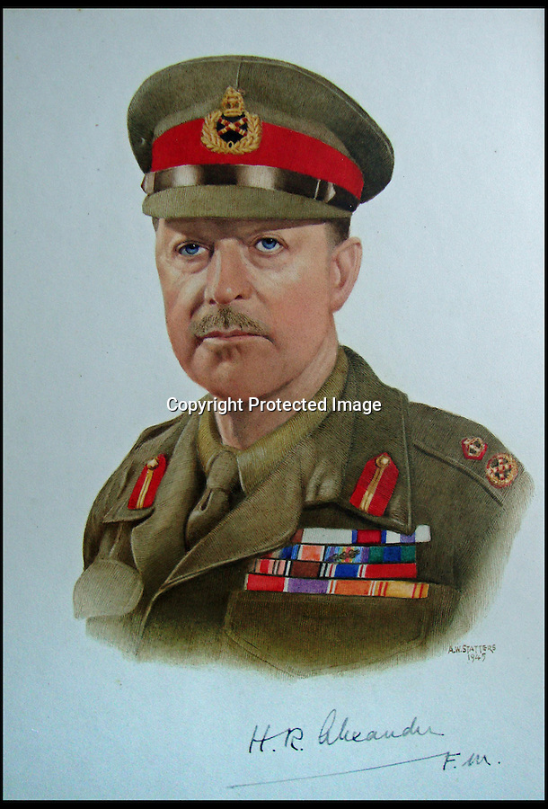 BNPS.co.uk (01202) 558833<br /> Picture: Alex Statters<br /> <br /> Field Marshal Lord Alexander - 1945<br /> <br /> A collection of portraits by an amateur artist who sent his paintings to famous subjects for them to sign has been unearthed. Self-taught Alex Statters spent nearly 40 years at his hobby, painting the great and important figures from photographs then trying to get them signed. The painter often had to wait as long as a year to get a reply. Statters was born in the early 1890s and after a working life in Newcastle settled in Southport, Merseyside. It is thought he died in the early 1960s. The collection has passed down through his family to his grandchildren who until recently were only aware of a few of the portraits that were hung in the family home.