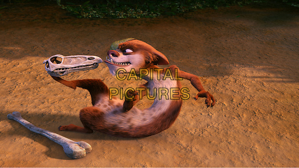 SCENE - Buck (Simon Pegg) emerges triumphant after a battle with some dinosaur bones..in Ice Age: Dawn of the Dinosaurs.3.*Filmstill - Editorial Use Only*.CAP/PLF.Supplied by Capital Pictures.