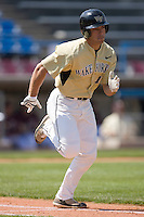 Steven Brooks #1 of the Wake Forest Demon Deacons hustles down the first base line versus the Boston College Eagles at Wake Forest Baseball Park April 11, 2009 in Winston-Salem, NC. (Photo by Brian Westerholt / Four Seam Images)