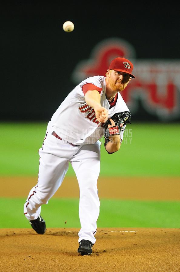 Jul. 6, 2010; Phoenix, AZ, USA; Arizona Diamondbacks pitcher Barry Enright throws in the first inning against the Chicago Cubs at Chase Field. Mandatory Credit: Mark J. Rebilas-