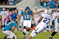 October 03, 2010:  Jacksonville Jaguars place kicker Josh Scobee (10) kicks the winning 59 yard field goal during AFC South Conference action between the Jacksonville Jaguars and the Indianapolis Colts at EverBank Field in Jacksonville, Florida.   Jacksonville defeated Indianapolis 31-28,........