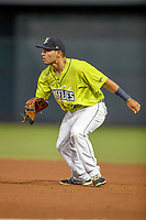 Shortstop Jeremy Vasquez (20) of the Columbia Fireflies plays defense in a game against the Augusta GreenJackets on Friday, April 6, 2018, at Spirit Communications Park in Columbia, South Carolina. Columbia won, 7-2. (Tom Priddy/Four Seam Images)