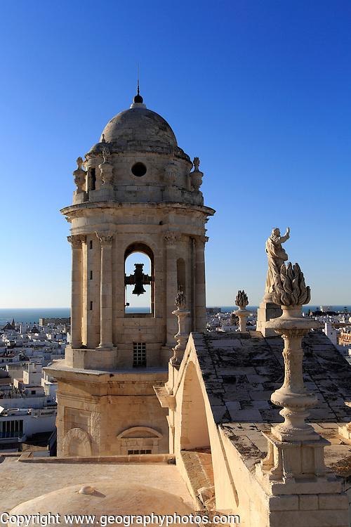 Cathedral belfry looking west over Barrio de la Vina, Cadiz, Spain