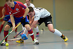 GER - Mannheim, Germany, November 28: During the 1. Bundesliga Sued Herren indoor hockey match between Mannheimer HC (red) and TG Frankenthal (white) on November 28, 2015 at Irma-Roechling-Halle in Mannheim, Germany. Final score 7-7 (HT 3-3). (Photo by Dirk Markgraf / www.265-images.com) *** Local caption *** Hans-Christian Damm #10 of TG Frankenthal