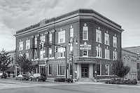 An early morning view of the historic Pythian Building in Jackson, Tennessee.