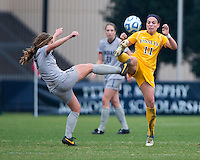 Daphne Corboz (6) of Georgetown fights for the ball with Anna Dolhansky (11) of La Salle during the first round of the NCAA tournament at Shaw Field in Washington, DC.  Georgetown defeated La Salle, 2-0.