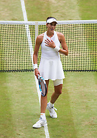 Garbine Muguruza (14) of Spain celebrates her victory over Magdalena Rybarikova of Slovakia in their Ladies' Singles Semi Final Match today<br /> <br /> Photographer Ashley Western/CameraSport<br /> <br /> Wimbledon Lawn Tennis Championships - Day 10 - Thursday 13th July 2017 -  All England Lawn Tennis and Croquet Club - Wimbledon - London - England<br /> <br /> World Copyright &not;&copy; 2017 CameraSport. All rights reserved. 43 Linden Ave. Countesthorpe. Leicester. England. LE8 5PG - Tel: +44 (0) 116 277 4147 - admin@camerasport.com - www.camerasport.com