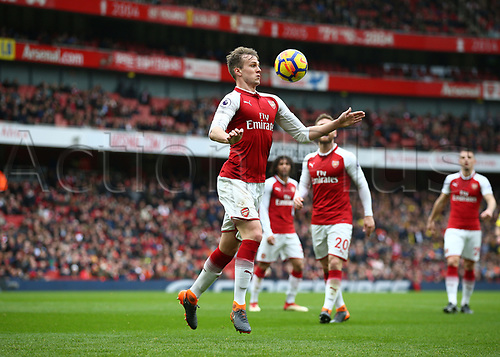 11th March 2018, Emirates Stadium, London, England; EPL Premier League Football, Arsenal versus Watford; Rob Holding of Arsenal chests the ball down