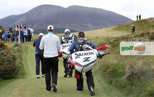 SRIXON Journey to Better, playing together Graeme McDowell (NIR) and Jaco Van Zyl (RSA) head to the 9th during Round Three of the 2015 Dubai Duty Free Irish Open Hosted by The Rory Foundation at Royal County Down Golf Club, Newcastle County Down, Northern Ireland. 30/05/2015. Picture David Lloyd | www.golffile.ie
