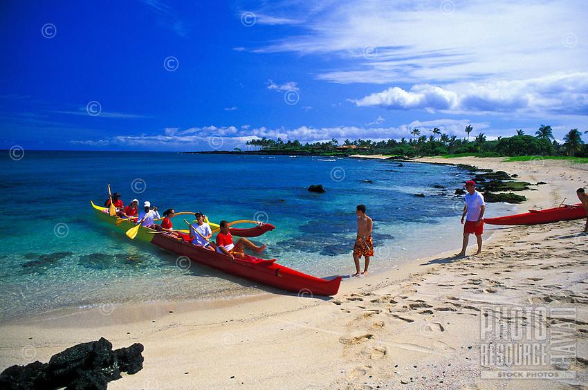 Scenic Kukio Beach and outrigger canoe, Kona coast of Hawaii
