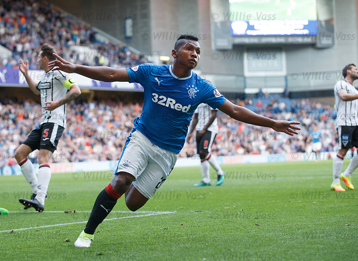 Alfredo Morelos celebrates his first goal