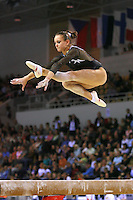 Oct 18, 2006; Aarhus, Denmark; Dariya Zgoba performs cossack leap on balance beam during women's team final competition at 2006 World Championships Artistic Gymnastics.