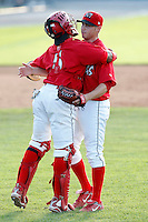 July 19, 2009:  Pitcher Scott Schneider and catcher Luis De La Cruz of the Batavia Muckdogs during a game at Dwyer Stadium in Batavia, NY.  The Muckdogs are the NY-Penn League Short-Season Class-A affiliate of the St. Louis Cardinals.  Photo By Mike Janes/Four Seam Images
