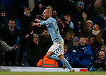 David Silva of Manchester City celebrate scoring their second goal during the premier league match at the Etihad Stadium, Manchester. Picture date 3rd December 2017. Picture credit should read: Andrew Yates/Sportimage