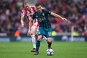 30th September, bet365 Stadium, Stoke-on-Trent, England; EPL Premier League football, Stoke City versus Southampton; Southampton's Dusan Tadic comes under attack from Stoke City's Darren Fletcher