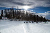 Denver Kay Evans runs on the inbound trail towards the finish line of the 2016 Junior Iditarod in Willow, Alaska, AK  February 28, 2016