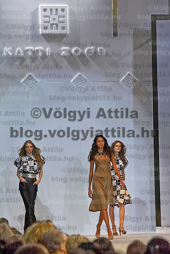 Model presents a creation by Hungarian designer Katti Zoob at the Hungarian Telecom Headquarters. Budapest, Hungary. Saturday, 06. October 2007. ATTILA VOLGYI