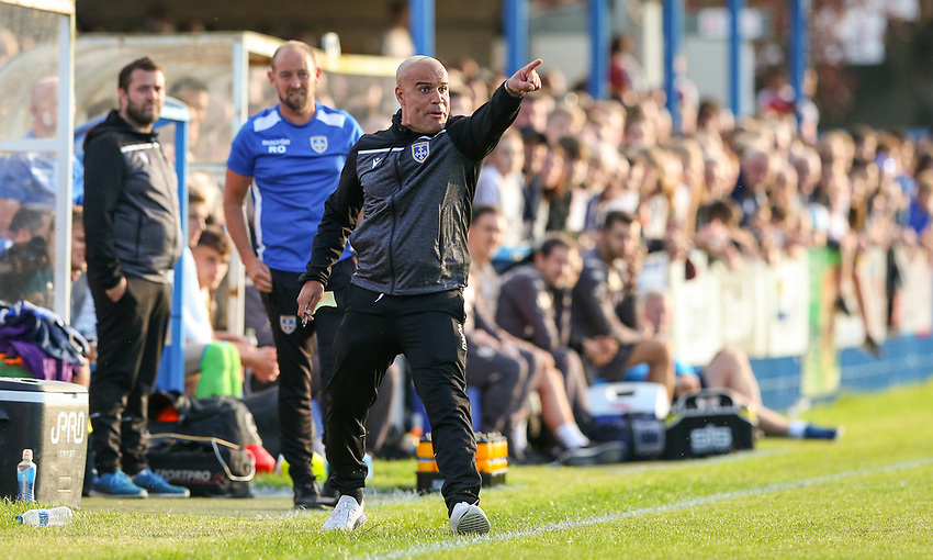 Guiseley manager Marcus Bignot shouts instructions to his team from the technical area<br /> <br /> Photographer Alex Dodd/CameraSport<br /> <br /> Football Pre-Season Friendly - Guiseley v Leeds United - Thursday July 11th 2019 - Nethermoor Park - Guiseley<br /> <br /> World Copyright © 2019 CameraSport. All rights reserved. 43 Linden Ave. Countesthorpe. Leicester. England. LE8 5PG - Tel: +44 (0) 116 277 4147 - admin@camerasport.com - www.camerasport.com