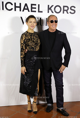 "November 13, 2017, Tokyo, Japan - American actress Kate Hudson (L) and American fashion designer Michael Kors pose for photo as they attend a charity dinner against hunger ""Michael Kors Watch Hunger Stop Charity Gala Dinner"" in Tokyo on Monday, November 13, 2017.     (Photo by Yoshio Tsunoda/AFLO) LWX -ytd-"