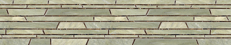 "8"" Bamboo border, a hand-cut stone mosaic, shown in polished Emperador Dark and honed Verde Luna, is part of the Metamorphosis Collection by New Ravenna."