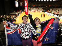 26.07.2015 Silver Ferns fans in action during the Silver Fern v South Africa netball test match played at Claudelands Arena in Hamilton. Mandatory Photo Credit ©Michael Bradley.