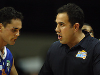 Saints coach Pero Cameron talks to Troy McLean during the National basketball league match between the Wellington Saints  and Taranaki Mountainairs at TSB Bank Arena, Wellington, New Zealand on Friday, 9 April 2010. Photo: Dave Lintott / lintottphoto.co.nz