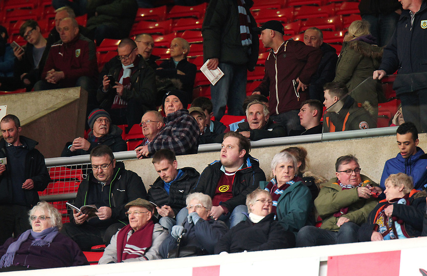 Burnley fans wait for kick-off<br /> <br /> Photographer Rich Linley/CameraSport<br /> <br /> The Premier League - Sunderland v Burnley - Saturday 18th March 2017 - Sunderland Stadium of Light - Sunderland<br /> <br /> World Copyright &copy; 2017 CameraSport. All rights reserved. 43 Linden Ave. Countesthorpe. Leicester. England. LE8 5PG - Tel: +44 (0) 116 277 4147 - admin@camerasport.com - www.camerasport.com